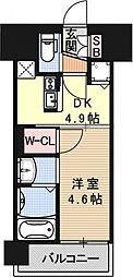 アクアプレイス京都西院[608号室号室]の間取り