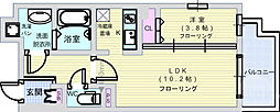 アヴェニール北浜 4階1LDKの間取り