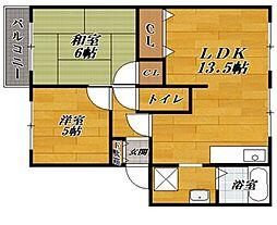 滋賀県彦根市中藪の賃貸アパートの間取り