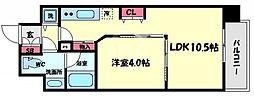 ロッカベラアパートメント 9階1LDKの間取り