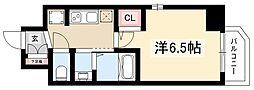 エステムコート名古屋新栄IIIグローリィ 7階1Kの間取り
