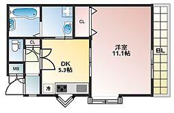 Aventa(アヴェンタ) 2階1DKの間取り