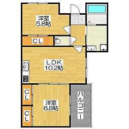 サングリーンハウス[305号室]の間取り