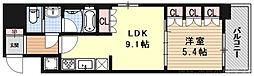 リーガル京都五条大宮 5階1LDKの間取り
