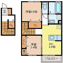新築JーRoom妃 弐番館[2階]の間取り