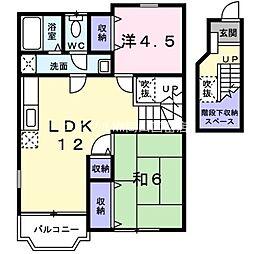 岡山県瀬戸内市長船町土師丁目なしの賃貸アパートの間取り