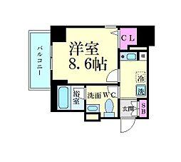 名古屋市営東山線 新栄町駅 徒歩8分の賃貸マンション 2階1Kの間取り