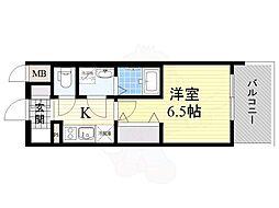 おおさか東線 JR淡路駅 徒歩2分の賃貸マンション 6階1Kの間取り