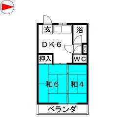 富士コーポ[3階]の間取り