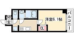プレサンス THE MOTOYAMA 10階1Kの間取り