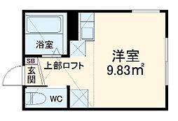 小田急小田原線 小田急相模原駅 徒歩17分の賃貸アパート 2階ワンルームの間取り