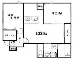 ベルリード阪南桜ヶ丘[102号室]の間取り