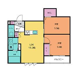 仮称)中央区平尾3丁目ヘーベルメゾン ペット共同棟 1階2LDKの間取り