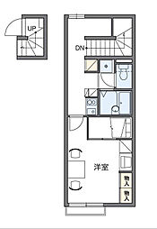 東京都八王子市下恩方町の賃貸アパートの間取り