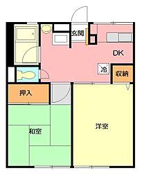 シティハイム 山川ハイツB[2階]の間取り