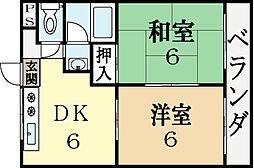 寺田ガーデンハイツ3番館[2階]の間取り