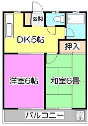 東京都東村山市青葉町3丁目の賃貸マンションの間取り