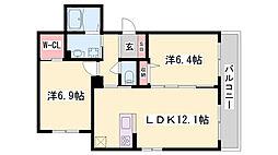 JR東海道・山陽本線 姫路駅 バス27分 中出屋敷下車 徒歩5分の賃貸アパート 2階2LDKの間取り