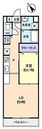 アイディール中台B館 2階1LDKの間取り