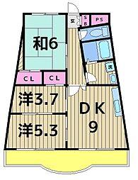 フォーラム北綾瀬[4階]の間取り