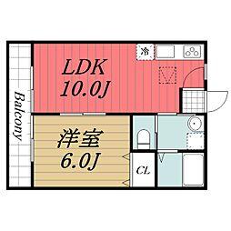 JR成田線 成田駅 徒歩12分の賃貸アパート 1階1LDKの間取り