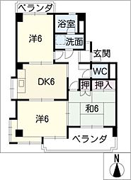 シャトー平山[3階]の間取り