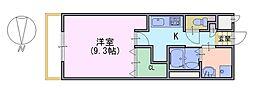レヨマージュ長岡京 2階1Kの間取り