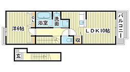 兵庫県姫路市広畑区蒲田5丁目の賃貸アパートの間取り