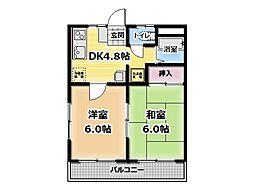 サンライズマンションA 1階2DKの間取り