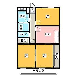 ヴィラージュ三田[3階]の間取り