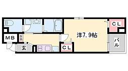 JR播但線 京口駅 徒歩8分の賃貸アパート 2階1Kの間取り