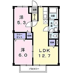 愛知県名古屋市守山区白沢町の賃貸アパートの間取り