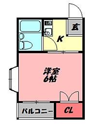 おしゃれ館 北斗 2階1Kの間取り