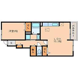 奈良県奈良市中山町西の賃貸アパートの間取り