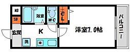 京阪本線 西三荘駅 徒歩9分の賃貸マンション 2階1Kの間取り