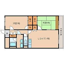 近鉄天理線 二階堂駅 徒歩7分の賃貸マンション 4階2LDKの間取り