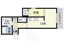 阪急京都本線 茨木市駅 徒歩11分の賃貸マンション 1階1LDKの間取り