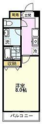 JR中央線 国分寺駅 徒歩5分の賃貸マンション 3階1Kの間取り