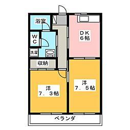コーポヤマニ[1階]の間取り