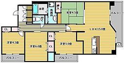 プラネスーペリア甲子園口[5階]の間取り