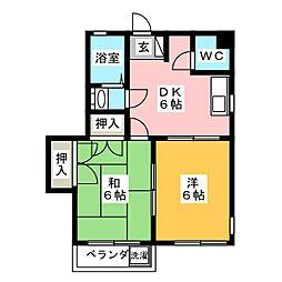 田宮コーポラス[4階]の間取り