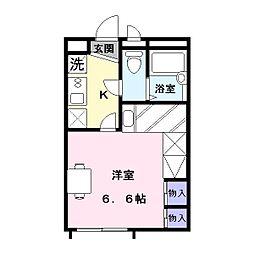 奈良県天理市田町の賃貸アパートの間取り