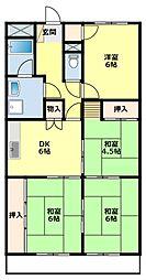 愛知県豊田市平和町4丁目の賃貸マンションの間取り