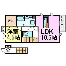 兵庫県尼崎市七松町3丁目の賃貸アパートの間取り