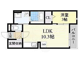 大阪モノレール 沢良宜駅 徒歩32分の賃貸マンション 1階1LDKの間取り
