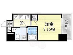 Osaka Metro御堂筋線 江坂駅 徒歩4分の賃貸マンション 14階1Kの間取り