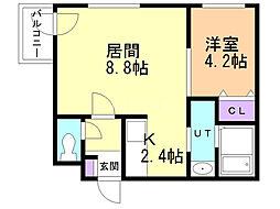 Site Kotoni(サイト琴似) 1階1LDKの間取り