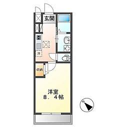 土浦市真鍋新築アパート(仮) 2階1Kの間取り