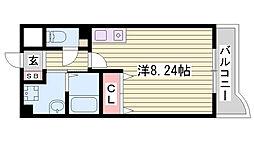 神戸市西神・山手線 伊川谷駅 徒歩6分の賃貸マンション 4階ワンルームの間取り