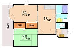福岡県福岡市南区大平寺2丁目の賃貸アパートの間取り